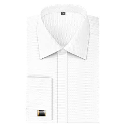 Men's French Dress Shirt Regular Fit (Include Cufflinks Collar Stays)