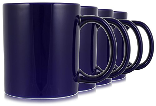 Serami 19oz Cobalt Large Classic Mugs for Coffee or Tea. Large Handle and Ceramic Construction, Set of 4 ()