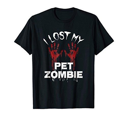 I Lost My Pet Zombie Bloody Handprints Halloween TShirt ()