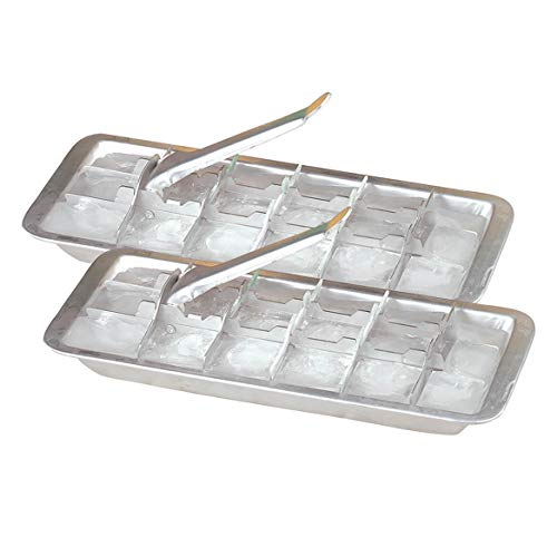 (Fox Valley Traders Vintage Kitchen Aluminum Metal Ice Cube Trays, Set of 2)