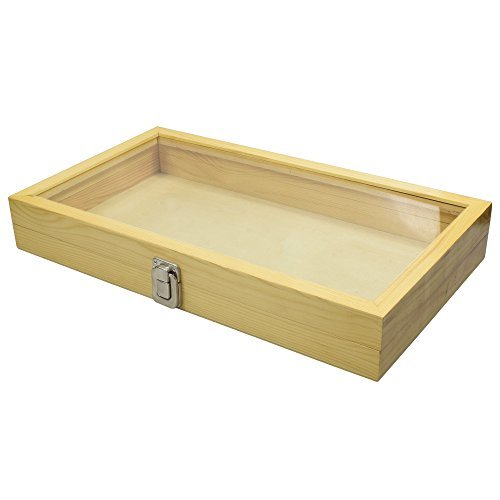 Mooca Large Natural Wood TEMPERED Glass Top Lid Metal Clip Jewelry Display Case, 15'' x 8 1/2'' x 2 1/8''