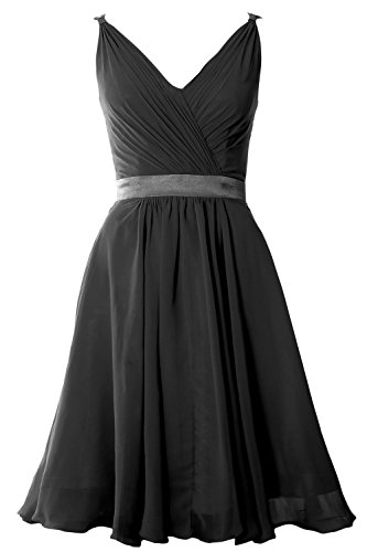 MACloth Women Pleated Chiffon Short Bridesmaid Dress Wedding Cocktail Party Gown Negro