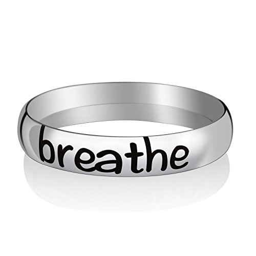 (I Am Enough Inspirational Rings Custom Message Positive Reminder Stacking Rings Graduation Present Personalized Gift for Teen Girls Girlfriends Sister (Breathe, 9))