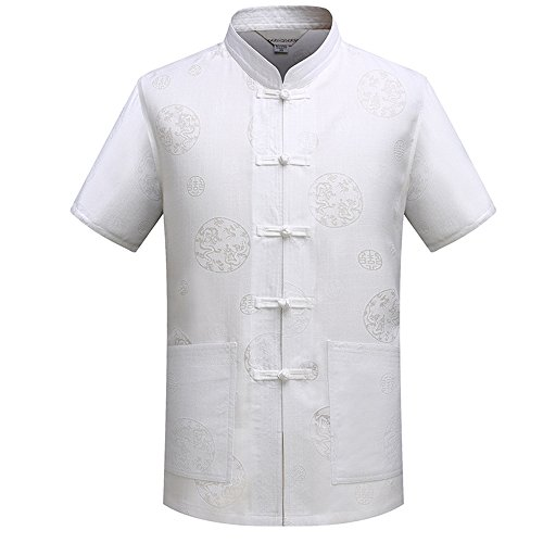 KINDOYO Men Short - Sleeved Cotton and Linen Kung Fu Uniform Tai Chi Shirt Chinese Style Tang Suit