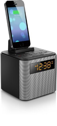 luetooth Dual Alarm Clock Radio iPhone/Android Speaker Dock Speakerphone Microphone (Black) ()