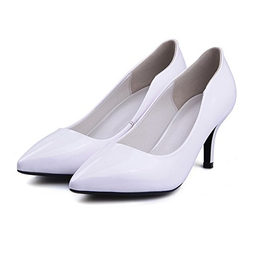 AdeeSu Womens Professional Pointed-Toe No-Closure Comfort Leather Pumps Shoes SDC05415 White txZDOGynD