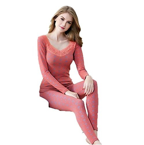 OYBY Women's Lace Stretch Seamless Thermal Underwear Set (Red-B) - Ultra Thin Cotton