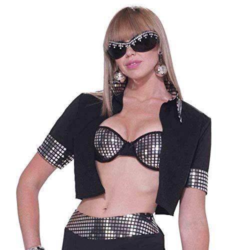 Forum Novelties Women's 70's Disco Jacket, Black/Silver, One Size