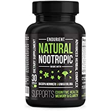 Herbal Brain Function Support - LIMITED PROMOTIONAL PRICE! Natural Nootropic Supplement with Ginkgo Biloba, Bacopa Monnieri Leaf & St. John's Wort for Brain Health, Memory & Concentration