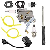 Euros C1M-W47 Carburetor + 545202701 Ignition Coil Module + Primer Bulb + Fuel Filter Line + Spark Plug + Carb Adjustment Tool for Poulan Pro PP5020AV PP4818A Chainsaw Replace 573952201/573 95 22-01