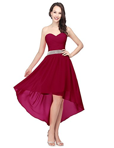Sarahbridal Womens Hi Lo Prom Dresses Sweetheart Beaded Chiffon Wedding Party Gowns Burgundy US2