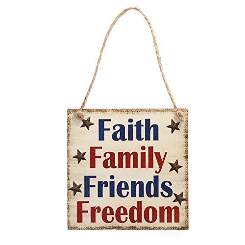 4th Of July Signs (BESTOYARD Faith Family Friends Freedom Hanging Sign Patriotic Party Decoration Independece Day Wooden Plaque 4th of July)