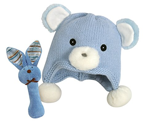 Stephan Baby Knit Bear Hat and Bunnie Rattle Gift Set, Blue