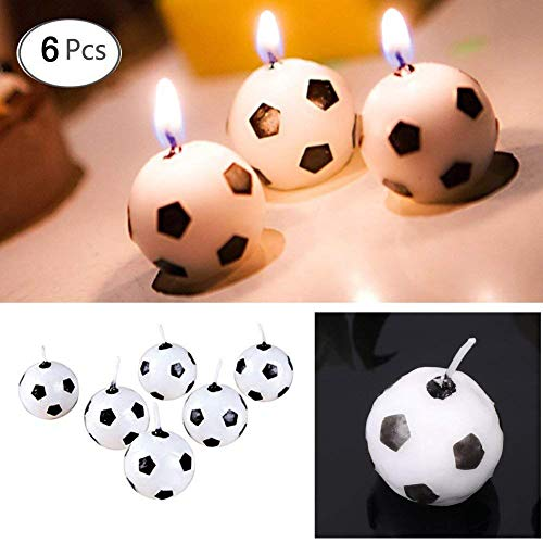 Hacloser 6Pcs/Set Football Candles Birthday Party, Round Ball Candles 1 inch Kids Toy Gift Soccer Ball Candle Decorations Home