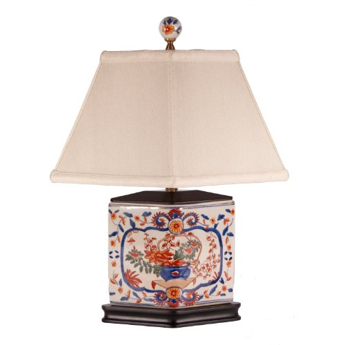Imari Pattern Diamond Shaped Small Porcelain Lamp