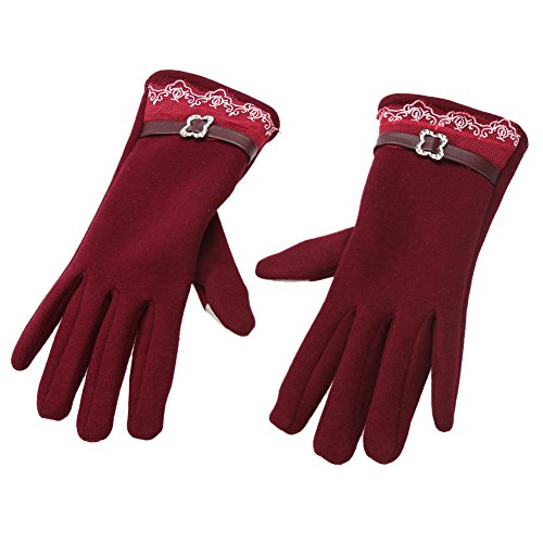 (Diamondo Women Touch Screen Winter Warm Weaved Knit Lace Gloves (Burgundy) (F))