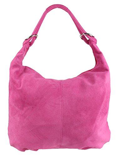 Shoulder Girly Fuchsia HandBags Girly Leather Suede Italian Hobo HandBags Bag 0wagdzqa