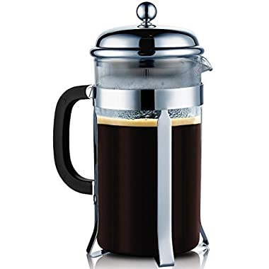 SterlingPro French Coffee Press --8 Cup/4 Mug (1 liter, 34 oz), Chrome