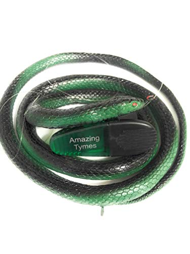 """Snake Clip (Amazing Tymes Crazy Snake Prank Bundle 52"""" Green & Black Rubber Snake, Plastic Clio, and Invisible String - Fake Toy Snake That Looks Real)"""