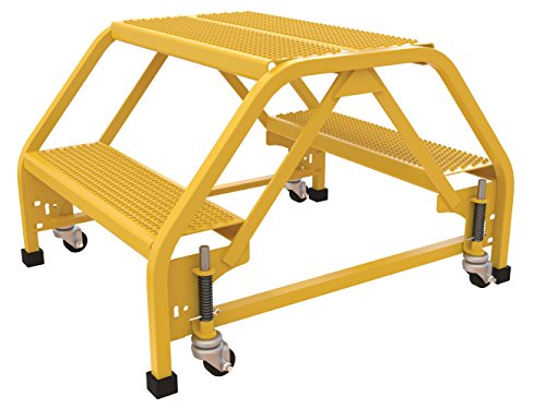 """Price comparison product image Vestil LAD-DD-P-26-2-P Double Side Portable Ladder, 2 Step, Perforated, 26.06"""" W, Yellow"""