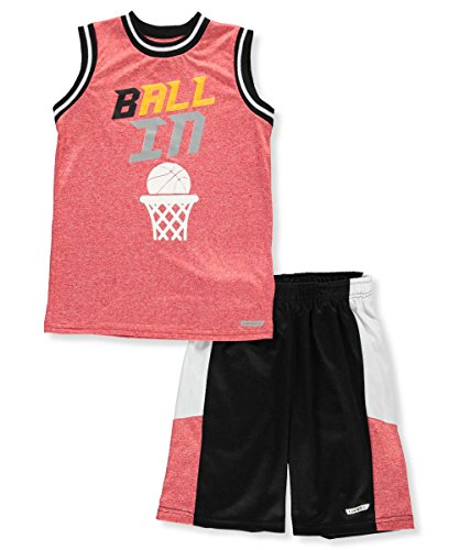 Hind Big Boys' 2-Piece Outfit - Red/Multi, 8 (Mesh Shorts Striped Basketball)