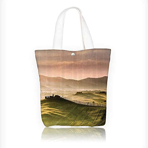 Women's Canvas Tote Handbags Countryside Road with Trees and Meadows by the Mountains Mediterranean Culture Casual Top Handle Bag Crossbody Shoulder Bag Purse W11xH11xD3 INCH