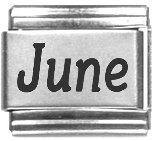 June Laser Name Italian Charm Link