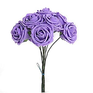 Wendy Mall 30pcs Diameter 8cm DIY Real Touch 3D Artificial Foam Rose with Wired Stem for Bridal Wedding Bouquet Party Home Decoration 24