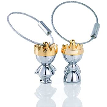 TROIKA LITTLE KING & LITTLE QUEEN – KR9-38/CH – Keyring – cast metal– shiny – chrome plated – silver, gold – TROIKA-original