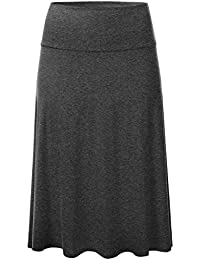 Womens Solid Lightweight Knit Elastic Waist Flared Midi...