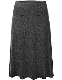 Womens Solid Lightweight Knit Elastic Waist Flared Midi Skirt (S-3XL)
