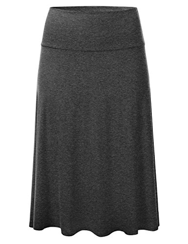 Lightweight Knit Elastic Waist Flared Midi Skirt CHARCOAL L (Knit Womens Skirt)