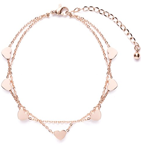 Happiness Boutique Delicate Bracelet Heart Charms in Rose Gold | Double Stranded Bracelet