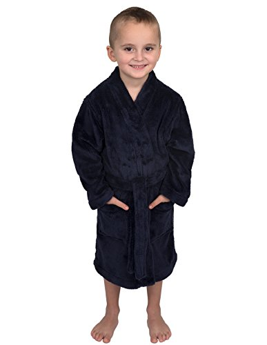 TowelSelections Little Boys' Robe, Kids Plush Kimono Fleece Bathrobe Size 4 -