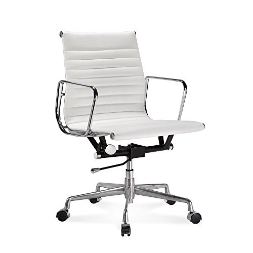 Artis Decor Ribbed Low and High Back Executive Office Chair Made with Upholstered Genuine Italian Leather, Swivel and Polished Aluminium Frame - Low-Back White