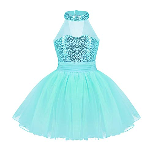 iiniim Girls Sequined Camisole Ballet Leotard Dance Tutu Dress Shiny Sparkle Fairy Party Fancy Costume Mock Neck Turquoise 10-12