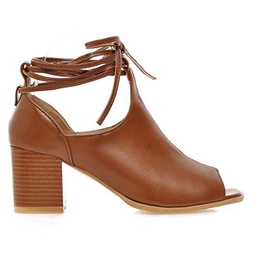 TAOFFEN Femmes Ete Peep Toe Bootines Sandales Lacets brown hZNctY