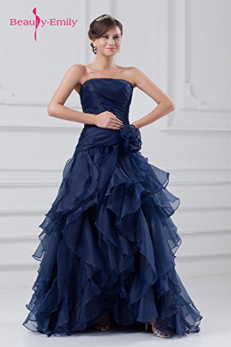 Beauty-Emily Maxi Tulle Sleeveless Ruching Pleat Flower Zipper Christmas Gifts Night Evening Dresses Color Dark Blue,Size US20W by Beauty-Emily (Image #3)