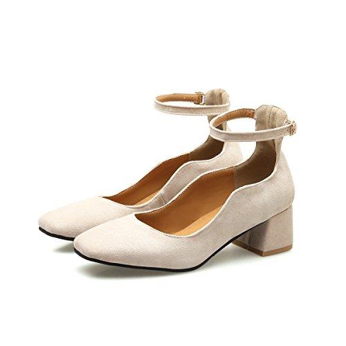 Boca Tacones CXQ Superficial Prom Mujer Zapatos Toe Talones Rice White QIN Cuadrados Bloque amp;X Bombas La RXPzRwrv