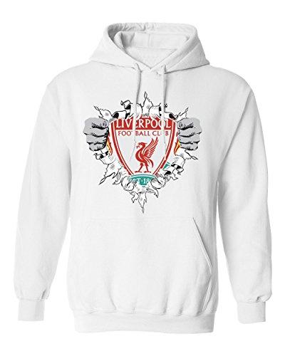 (SMARTZONE Liverpool Football Club Super Hero Logo Soccer Football Futbol Men's Hoodie Sweatshirt (White,2XL))