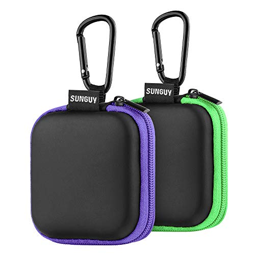 Earbuds Carrying Case,SUNGUY [2-Pack] Portable Small Shape Hard EVA Carry Case Storage Bag Carabiner Earphone,Earbuds,Bluetooth Headset,Wired Headset Mini Case More (Green+Purple)