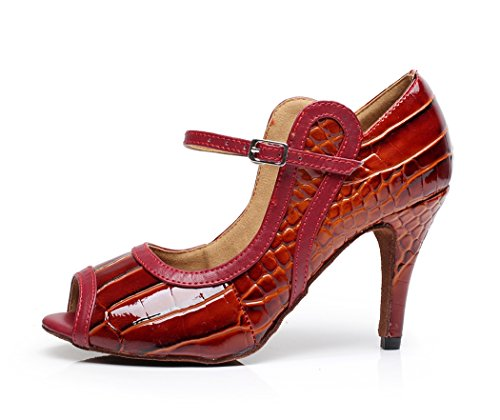 TDA Shoes Dance Design Women's Red Striped Jane Mary Latin qnWxSCTqr