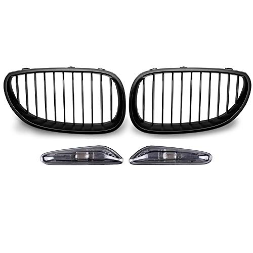 Matte Black Front Upper Kidney Grille & Turn Signals Side Marker Light Smoke Lens Housing Compatible with 2004-2010 BMW E60 E61 5 Series 4-Door