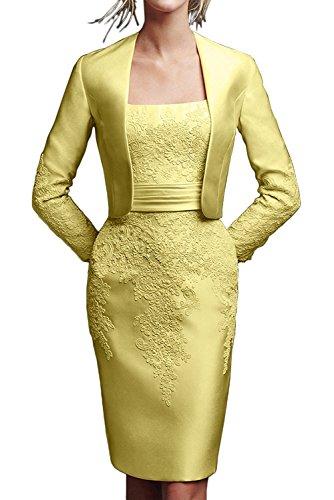 La Kurz Festlichkleider lang Satin Rosa Etui Linie Gelb Knie Promkleider Braut Rock mia Brautmutterkleider XwHrzXq