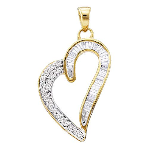 (FB Jewels 10kt Yellow Gold Womens Round Baguette Diamond Heart Pendant 1/4 Cttw (I2-I3 clarity; J-K color))
