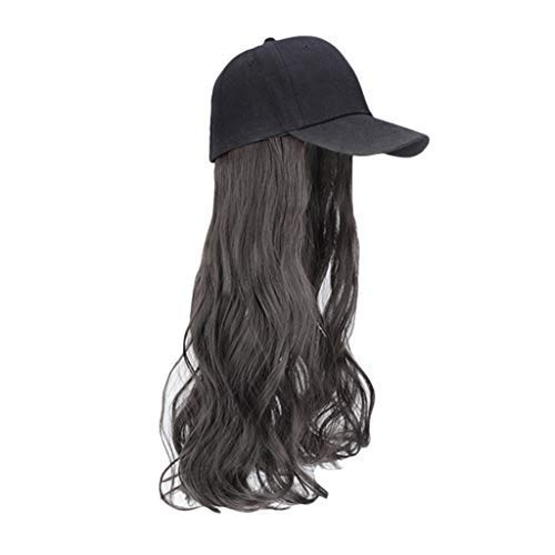 Crytech Synthetic Long Wavy Wig Baseball Cap Curly Hair Wig Sun Visor Hat Adjustable Golf Sunhats with Wig Attached Adjustable Fits Women Easy to Use Hair Extension (Brown)