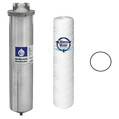 Stainless Steel Water Filter, Large Diameter 4.5 x 20 Inch Housing, KleenWater KW4520SW 5 Micron Dirt Rust Sediment Cartridge, Spare O-ring