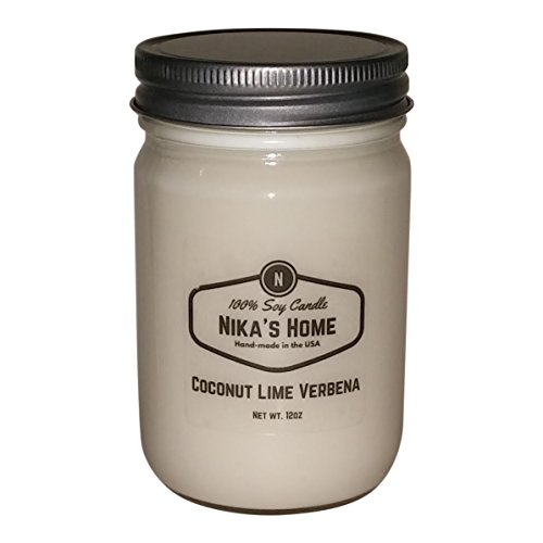 Nika's Home Coconut Lime Verbena Soy Candle - 12oz Mason Jar