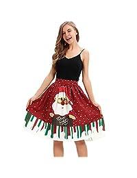 FarJing Womens Christmas Dress Casual Flare Elastic High Waist Cosplay Ball Skirt