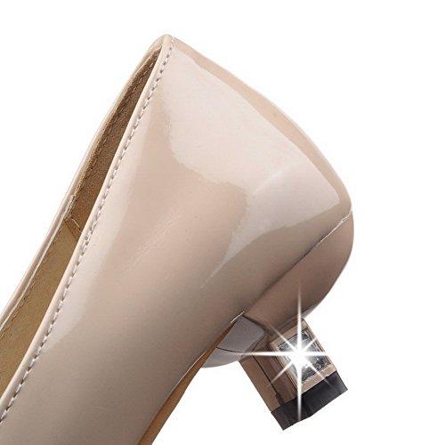 AllhqFashion Damen Ziehen auf PU Spitz Zehe Niedriger Absatz Rein Pumps Schuhe Aprikosen Farbe